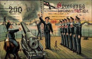 Litho Sprengung der letzten 200 Tage, Seeleute, Kanone