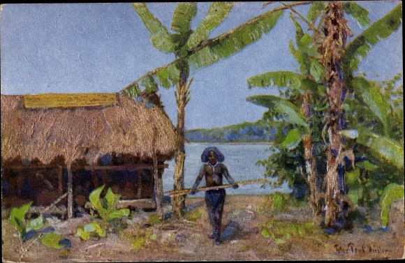 Künstler Ak Müller, P. P., Papua Neuguinea, Insulaner, Strohhütte