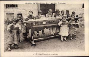 Ak Cangzhou Hebei Xian Sien hsien China, Petites Chinoises en classe, Mission, Jesuites francais