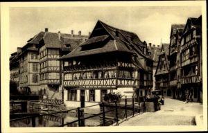 Ak Strasbourg Straßburg Elsass Bas Rhin, Le vieux Strasbourg, maisons, pont, canal