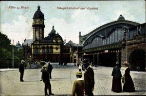 Ak Köln am Rhein, Hauptbahnhof mit Viadukt