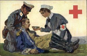 Künstler Ak Krause, William, Sanitäter und Krankenschwester versorgen verwundeten Soldaten