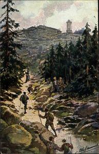 Künstler Ak Hammel, O., Brocken Nationalpark Harz, Wanderpartie zum Brockenhotel