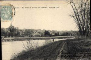 Ak Triel Yvelines, La Seine en dessous de Verneuil, Vue générale