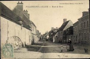 Ak Villeneuve sur Allier Allier, Route de Paris