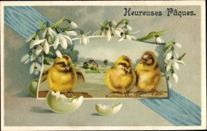Präge Litho Glückwunsch Ostern, Küken, Schlüpfen aus Osterei, Glockenblumen