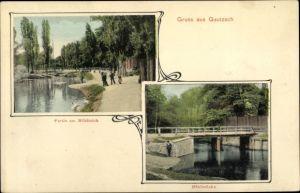 Ak Gautzsch Markkleeberg in Sachsen, Mühlteich, Mühlbrücke
