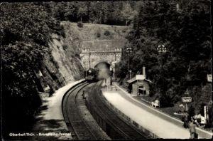 Ak Oberhof Kt. Aargau Schweiz, Brandleite Tunnel, Lokomotive