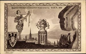Wappen Künstler Ak Wien, 10. Deutsches Sängerbundesfest 1928, Minnesänger mit Laute