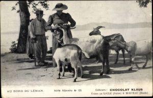 Ak Au bord du Léman, Frau mit Ziegen