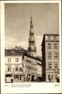 Ak Riga Lettland, Blick auf die Petrikirche