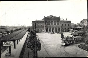 Ak Poznań Posen, Bahnhof, Bahnsteig 1, Straßenbahn Linie 1
