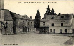 Ak Le Gros Theil Eure, Place de la Mairie