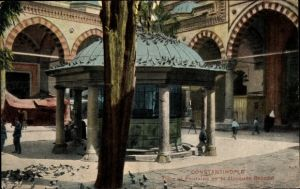 Ak Konstantinopel Istanbul Türkei, Cour et Fontaine de la Mosquee Bayazid