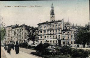 Ak Szczecin Stettin Pommern, Menzelbrunnen, grüne Schanze
