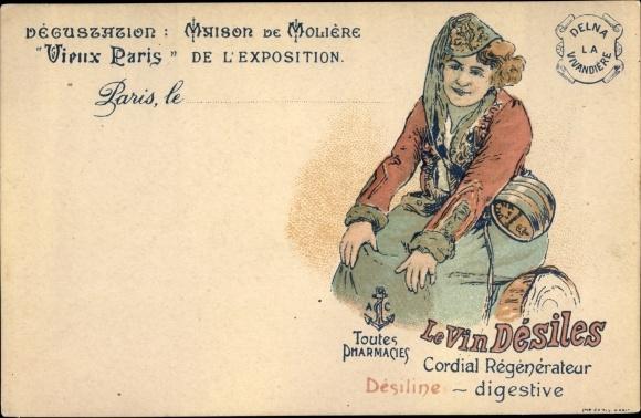 Litho Le Vin Desiles, Weltausstellung Paris 1900, Maison de la Moliere, Delna Vivandiere, Weinfass