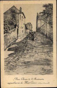 Künstler Ak Paris XVIII., Vieux Chemin de Montmartre, rue du Mont Cenin