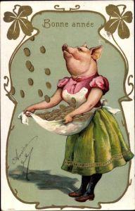 Präge Ak Glückwunsch Neujahr, Glücksschwein, Münzregen, Kleeblätter