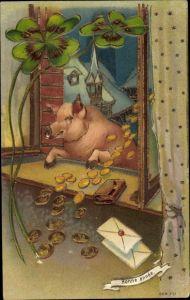 Präge Ak Glückwunsch Neujahr, Glücksschwein, Münzen, Geld, Kleeblätter