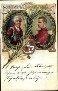 Wappen Litho Fürst Alexander Ferdinand und Fürst Albert von Thurn und Taxis, Residenz in Regensburg