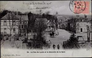 Ak Évreux Eure, La Rue du Lucée et la descente de la Gare