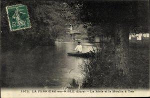 Ak La Ferrière sur Risle Eure, La Risle et le Moulin à Tan