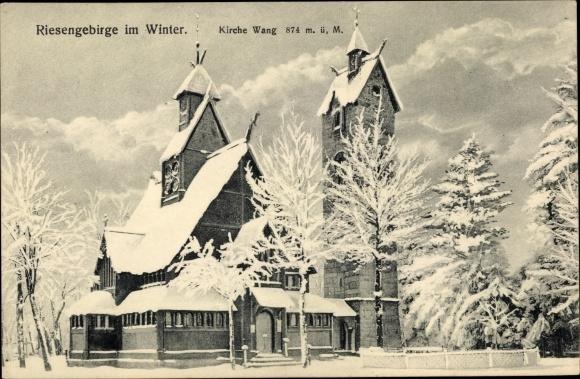 Ak Karpacz Krummhübel Riesengebirge Schlesien, Kirche Wang im Winter