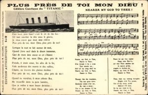 Lied Ak Plus Pres de toi mon Dieu, Nearer my God to Thee, Celebre Cantique, Titanic, White Star Line