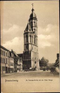 Ak Braunschweig in Niedersachsen, Andreaskirche, Alte Waage
