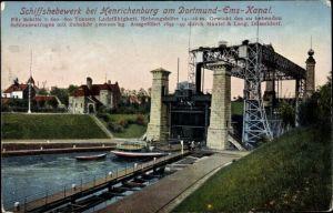 Ak Waltrop im Ruhrgebiet, Schiffshebewerk Henrichenburg am Dortmund Ems Kanal