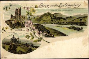 Litho Königswinter am Rhein, Ruine Drachenfels, Drachenburg, Panorama vom Rolandsbogen