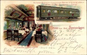 Litho Gruß aus dem Speisewagen, Dt. Eisenbahn Speisewagen Betrieb G. Kromrey & Söhne