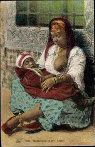 Ak Mauresque et son Enfant