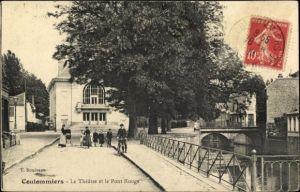 Ak Coulommiers Seine et Marne, Le Theatre, Le Pont Rouge