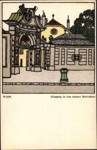 Künstler Ak Kuhn, Franz, Wiener Werkstätte, Nr 299, Eingang in das untere Belvedere