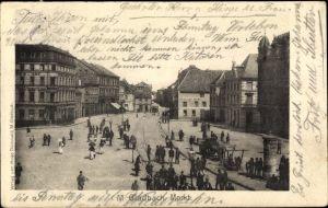 Ak Mönchengladbach Nordrhein Westfalen, Marktplatz, Menschenmenge, Litfaßsäule