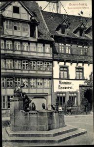 Ak Braunschweig in Niedersachsen, Mumme Brauerei, Eulenspiegelbrunnen