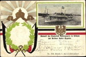 Präge Passepartout Ak Kaiser Yacht Alexandria, Kaiser Wilhelm II., Auguste Viktoria, Ruderregatta