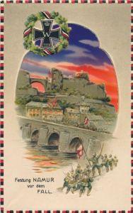 Halt gegen das Licht Relief Litho Namur Wallonien, Festung vor dem Fall, Soldaten