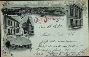 Mondschein Litho Oldenburg in Niedersachsen, Stadt Hamburg, Post, Marktplatz, Scheibner's Hotel