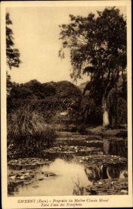 Ak Giverny Eure, Propriété du Maitre Claude Monet, Pièce d'eau des Nymphéas