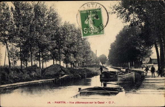 Ak Pantin Seine Saint Denis, Vue sur le Canal, bateaux