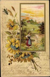 Präge Passepartout Litho Käfer, Sonnenblumen, Frau in Tracht an Ufer