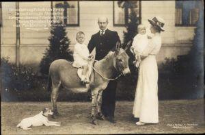 Ak Großherzog Friedrich Franz von Mecklenburg Schwerin, Großherzogin Alexandra, Kinder, Esel, Hund