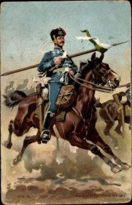 Künstler Ak Hoffmann, Anton, Deutsche Kavallerie in der Schlacht