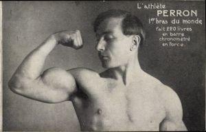 Ak Zirkus Athlet Perron, Gewichtheber, Portrait, Muskelspiel