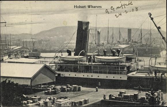 Ak Hobart Australien, Hobart Wharves, Kaianlagen, Dampfer