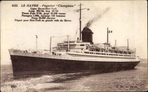 Ak Le Havre, Paquebot Champlain, CGT, French Line