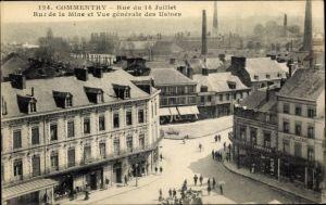 Ak Commentry Allier, Rue du 14 Juillet, Rue de la Mine et Vue générale des Usines, Chapellerie