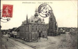Ak Étrépagny Eure, Place de l'Hôtel de Ville